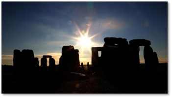 Stonehenge at Winter Solstice, shortest day of the year, first day of winter