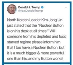 Donald Trump, nuclear button, Kim Jong Un, nuclear button tweet