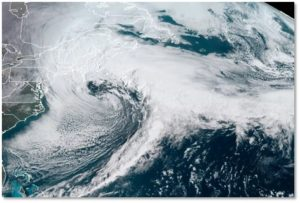 Winter Storm Toby, nor'easter, satellite photograph, weather pattern, jet stream