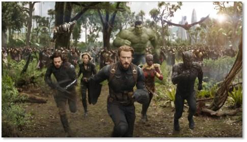 Avengers Infinity War, battle scene, Thanos, Captain America