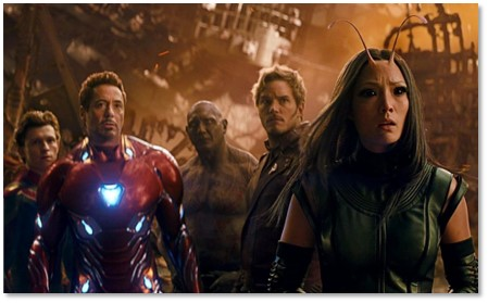 Avengers Infinity War, Star Lord, Thanos, battle scene