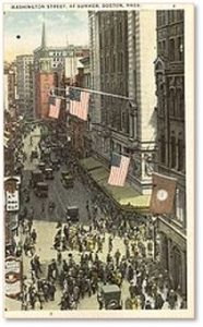 Washington Street, Downtown Crossing, Jordan Marsh, Filene's, Old South Meeting House
