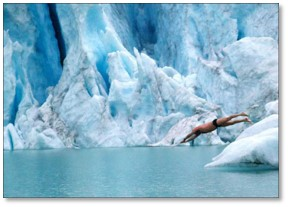 swimming near glacier, cold water swimming
