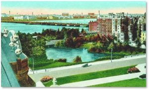 Charlesgate Park, Charles River, Commonwealth Avenue, Beacon Street