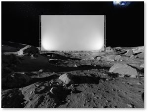 Movie theater on the moon, science fiction movies, movie screen on the moon