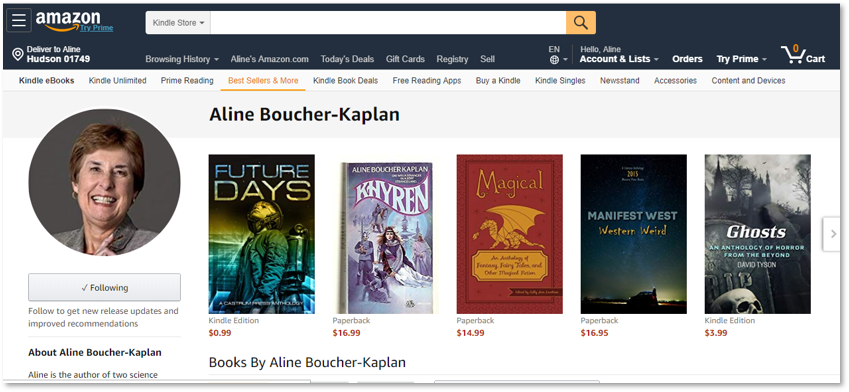 Amazon Author Page, Aline Boucher Kaplan, The Good Citizen, Future Days Anthology