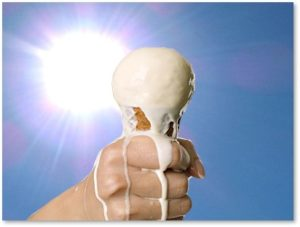 ice cream melting, hot sun, issues and questions