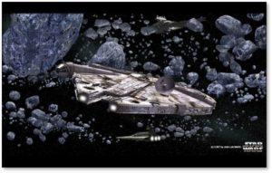 Millenium Falcon, asteroid field, Han Solo, Chewbacca, Star Wars