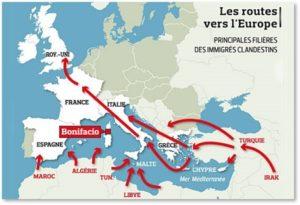 Muslim migration map, European migration, Middel east migrants