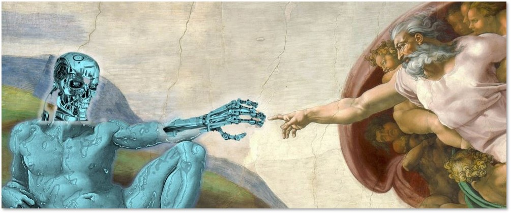 robot, artificial intelligence, Creation, God, Michaelangelo, Sistine Chapel