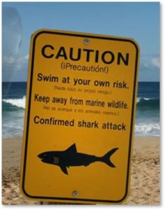 Shark Warning Sign, Great White Shark, Caution, swim at your own risk