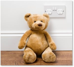 teddy bear, electrical outlets, childproofing