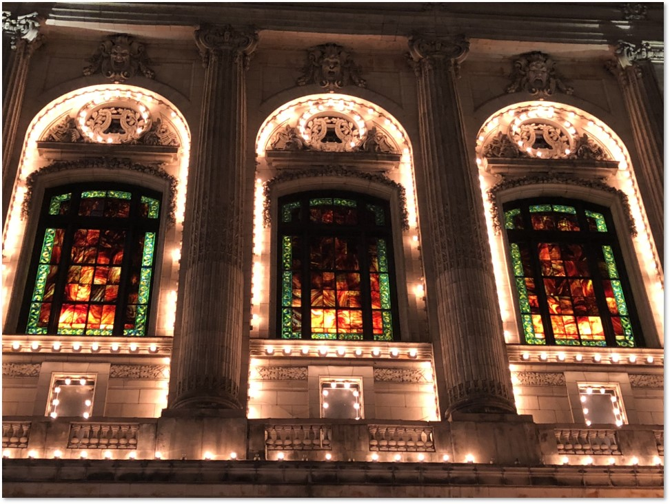 Cutler Majestic Theater, facade, stained glass, Tiffany Studios
