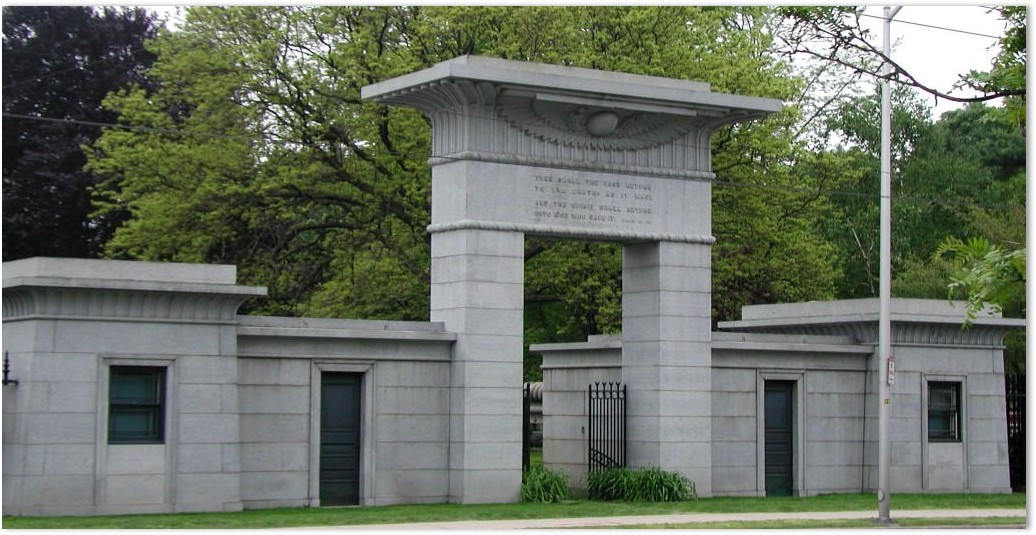 Jacob Bigelow, Octavius Rogers, Mount Auburn Cemetery, gateway, Egyptian Revival,
