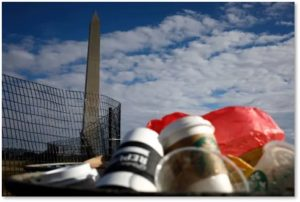 Washington Monument, trash, government shutdown, fence