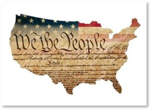 We the People, US Constitution, US map