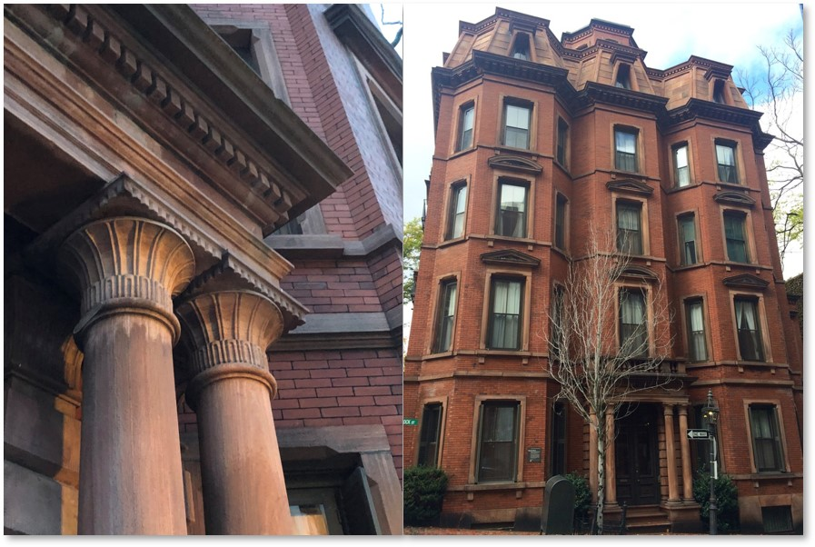 57 Hancock Street, Boston, Egyptian Revival, papyrus capitals, Egyptian Mansard roof