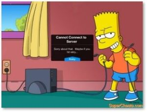 Bart Simpson, The Simpsons, Disconnected from Server, Error message