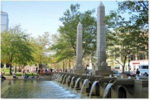 Copley Square fountain, Waterline Studios, obelisks, pool