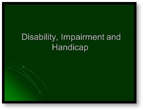 disability, impairment, handicap, definitions