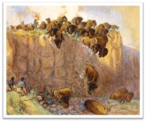 Driving Buffalo Over the Cliff, Charles Marion Russell, bison, buffalo jump