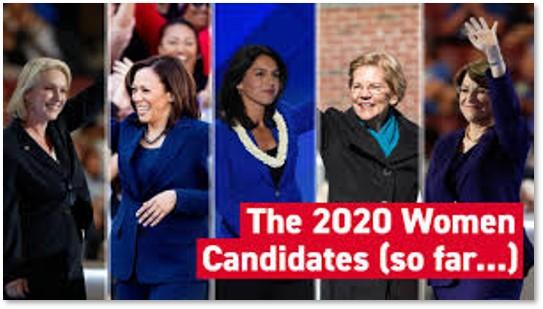 Five women candidates, Amy Klobuchar, Kamala Harris, Tulsi Gabbard, Elizabeth Warren, Kirsten Gillibrand