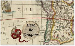 Here be dragons, map, exploration, danger
