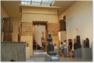 Museum of Fine Arts, MFA, Egyptian Gallery, Sekhmet, lotus column
