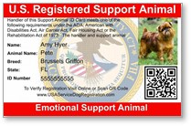 US Registered Support Animal, Emotional Support Animal