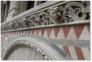 polychromy, mosaic, sandstone, blue slate, spandrels