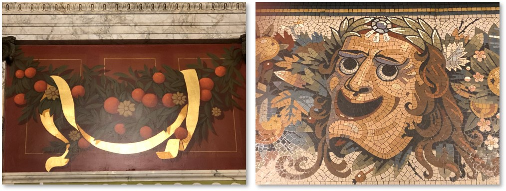 Emerson Colonial Theater, foyer, fruit, murals, mosaics