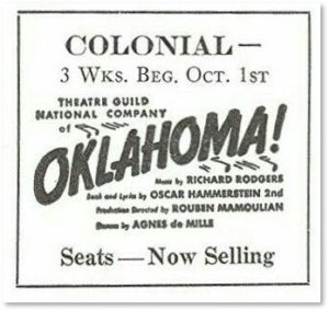 Oklahoma! Colonial Theater, Emerson Colonial Theater, vintage advertisement