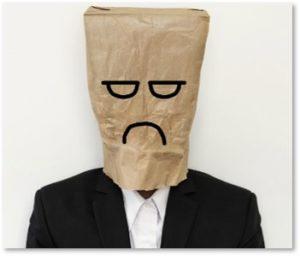 man with bag on head, underemployment, automation, robots, unemployment