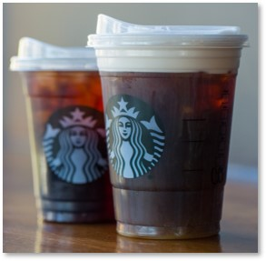 Starbucks cold drinks, new lids, no straws