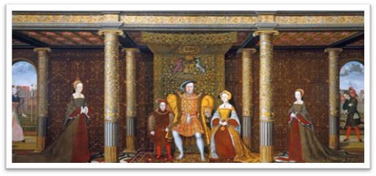 Henry VIII, Mary I, Elizabeth I, Edward VI, Thomas Holbein, Hampton Court