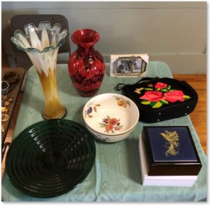 boutique table, rummage sale, First Parish of Sudbury, parish hall