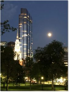 Boston Common, Park Street Church, Millennium Tower, full moon, roundup of May 2019 posts