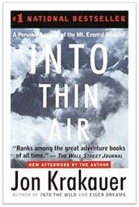 Into Thin Air, Jon Krakauer, bestseller, Mount Everest, 1996