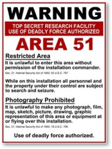 Area 51, Groom Lake, Warning sign