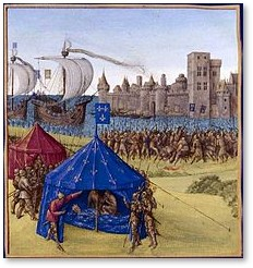 Death of St Louis de France, Jean Fouquet, fleur-de-lis tent, Tunis