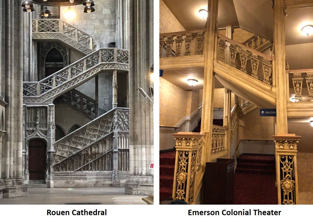Emerson Colonial Theater, Notre Dame Cathedral Rouen France, staircase