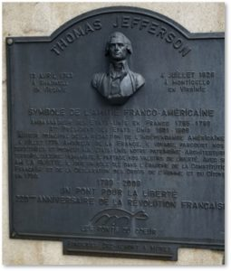 Thomas Jefferson, memorial plaque, Vienne France