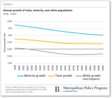 annual population growth, ethnicity, minority majority, falling birth rate