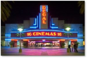 Regal Cinema theater, movie marquee