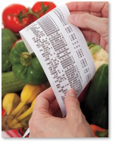 cash register receipt, fruit, food