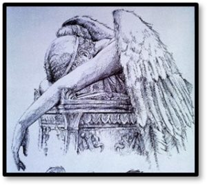 grieving angel, sadness, grief, death, dying