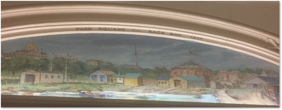Park Square from the Back Bay, Little Building, Arcade Mural