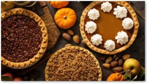 Thanksgiving dinner, pumpkin pie, pecan pie, applie pie