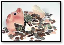 Broken piggy bank, charitable requests, giving fatigue