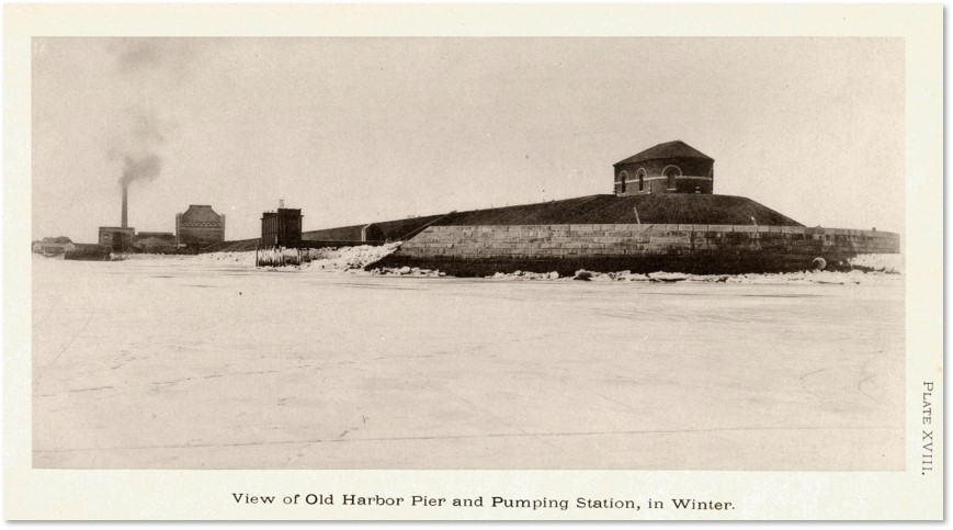 Calf Pasture Pumping Station, outfall pipe, winter, Boston Harbor
